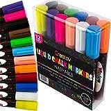 Liquid Chalkboard Window Chalk Markers - 12 Pack Erasable Pens Great for Chalkboards