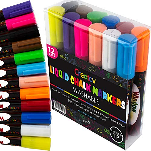 Liquid Chalkboard Window Chalk Markers -12 Pack Erasable Pens Great for Chalkboards & Glass - Non Toxic Safe & Easy to Use Washable Marker Neon Bright Vibrant Colors Pen for Kids and Adult