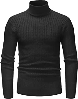 Men Classic Slim Turtleneck Pullover Sweaters with Twist Patterned