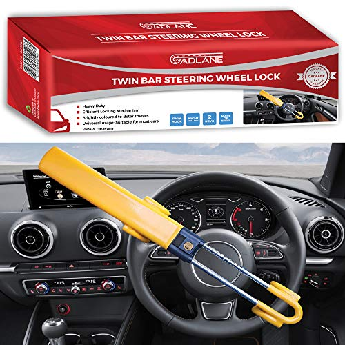 GADLANE Twin Bar Steering Wheel Lock High Visibility Car Lock Anti-Theft Device Deterrent Suitable...