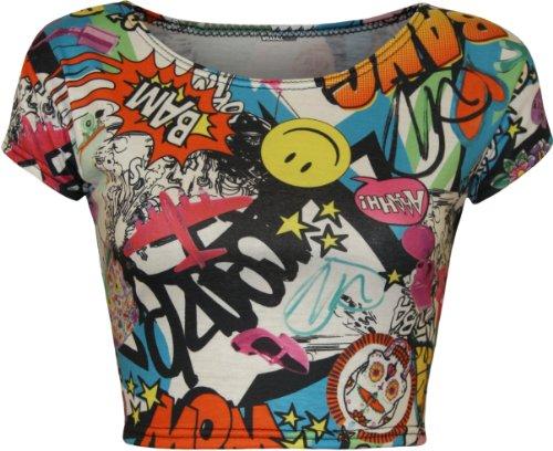WearAll - Mujeres Stretch Camiseta Imprimir Corto Recortada Top - Comic - 40-42