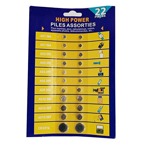 Cotchear 22pcs Alkaline Cell Batteries Assorted AG1/LR621 AG3/LR41 AG4/LR626 AG5/LR754 AG12/LR43 AG13/LR44 CR2016 Coin Batteries Set 0% Mercury