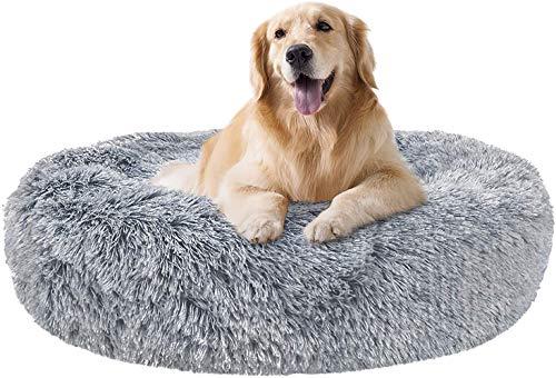 Beruhigende Hundebetten Selbstwärmendes Bett Couch für Große Hunde Kunstfell Orthopädisches Haustierbett Anti Angstzustände Pelzig Beruhigend Flauschig mit Hundedecke