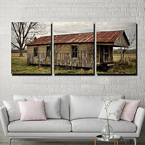 45Tdfc First Wall Art Fresco Cabina abandonada Louisiana Fondo Pintura de la Pared La impresión de la Imagen en la Lona Fotos de la Obra para la 3 Panel,30× 50cm-3