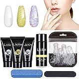 Lictin Kit Uñas de Gel-3 Colores Kit Poly Gel para Uñas, Kit Gel de Extensión de Uñas con 3 * 15ml Extension Glue, 40pcs de Uñas, 30ml Limpiador y 2 Herramientas de manicura