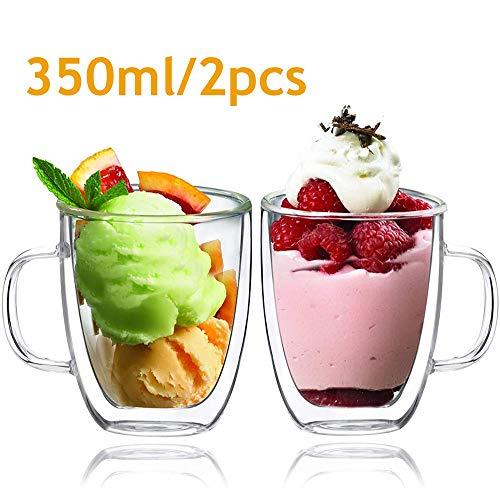 Glazen bekers Dubbelwandige glazen koffiemokken, glaswerk bekers, geïsoleerde drinkglazen met handvat Set van 2 (350 ml waterglazen),350ML/2PCS
