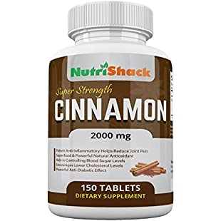 CEYLON Cinnamon Extract 2000mg 150 Tablets - High Potency - Blood Sugar Control - Powerful Natural Antioxidant - Potent Anti-Inflammatory - Encourages Lower Cholesterol Levels - Powerful Anti-Diabetic Effect - Natural Herbal Food Supplement