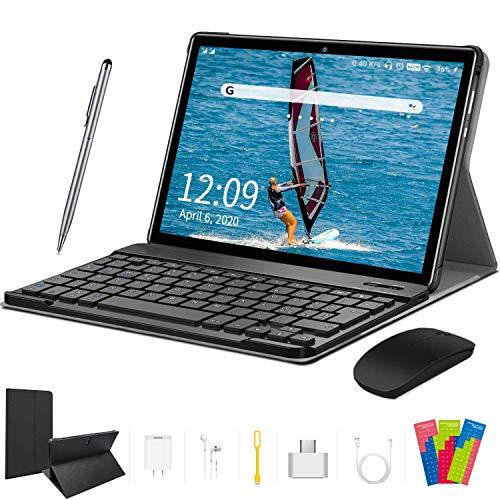 4G LTE Tablet 10 Zoll - Android 9.0 Zertifiziert von Google GMS, 2 in1 Tablet mit Tastatur 4 GB RAM und 64 GB ROM, 8000 mAh Quad-Core, Dual SIM,WiFi,Bluetooth, GPS, OTG, Typ C - Schwarz