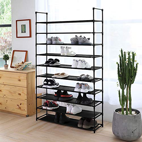 Camabel 10 Tiers Shoe Rack Stackable Narrow Expandable For Non-Woven Fabric Shoe Storage Organizer Cabinet Tower Shelf Space Saving Assembly No Tools Required Hold High Heeled Shoes