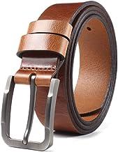 Fashion Belt Men Jeans Belt Wild Casual Pure Leather Belt, Alloy Buckle Durable (Color : Brown, Size : 105cm)