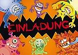 10 Halloween-Einladungskarten'MONSTER': 10-er Set Einladungen für einen gruseligen Monster-Kindergeburtstag oder Halloween-Party von EDITION COLIBRI (10969)