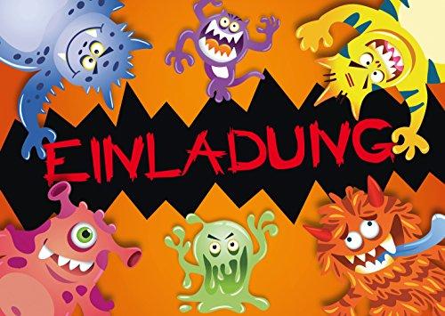 """10 Halloween-Einladungskarten""""MONSTER"""": 10-er Set Einladungen für einen gruseligen Monster-Kindergeburtstag oder Halloween-Party von EDITION COLIBRI (10969)"""