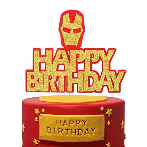 Super Hero Marvel Avengers Cake Topper Perfect for Baby Shower Child Children Cartoon Birthday Party Supplies (Iron Man)