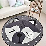 Lulunake丸いラグ 可愛い動物 居間ベッドルーム リビングルーム コーヒーテーブル ダイニングルームカーペット コンピュータチェアパッド 0.6m-1.8m,01,1.2m
