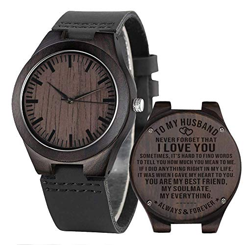 Engraved Mens Wooden Watch Personalized Leather Watches for Husband Men Son Dad Boyfriend Love...