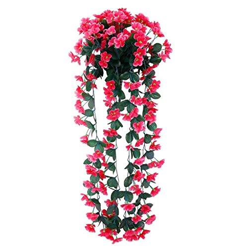 Facethoroughly Violet Fleurs Artificielles Faux Guirlande de feuilles de vigne à suspendre pour Home Garden Décoration murale à suspendre rose vif