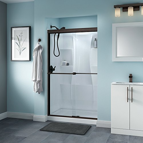 Delta Shower Doors SD3276451 Linden Semi-Frameless Traditional Sliding Shower Door 48in.x70in Handle, Chrome Track