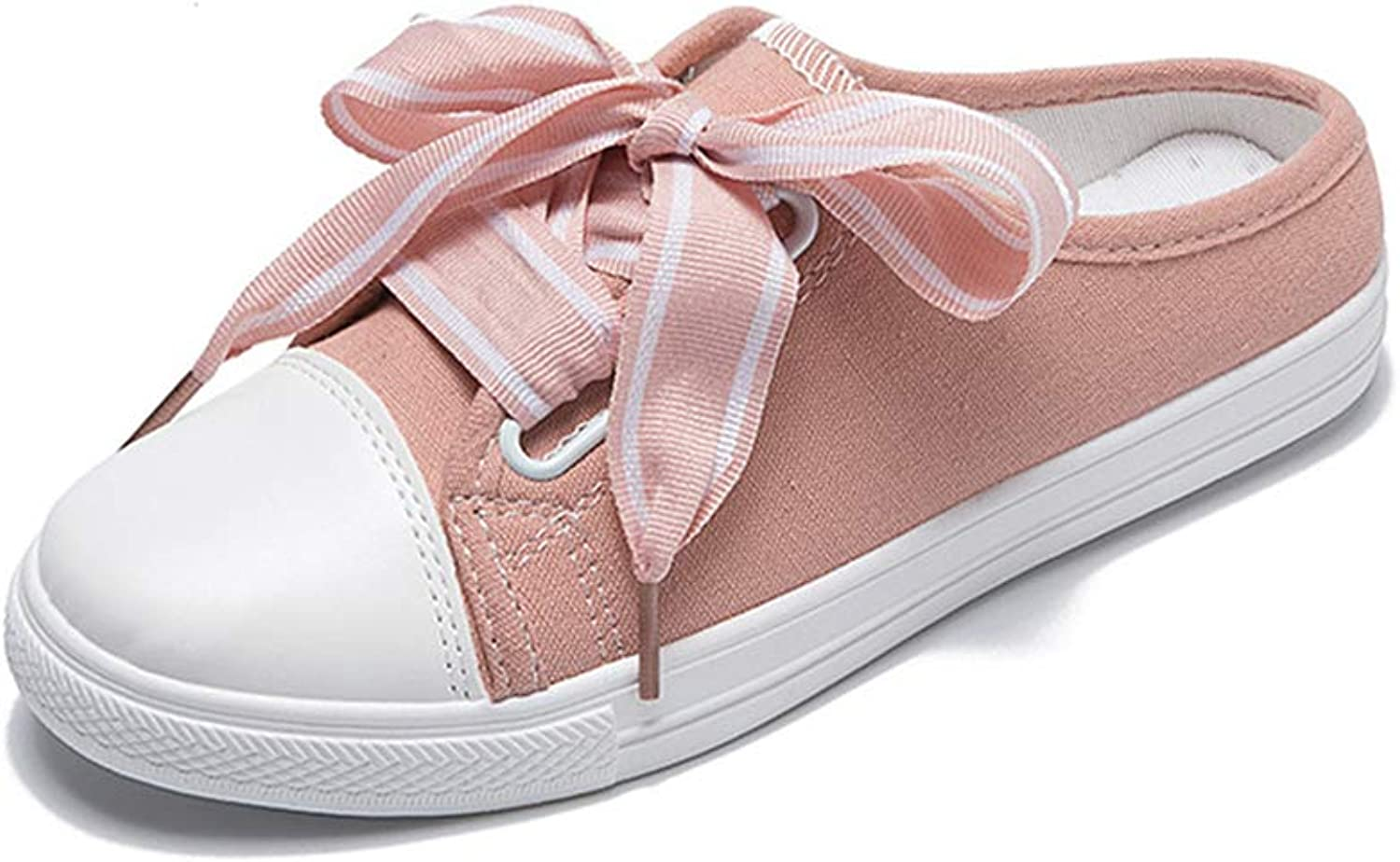 HULUN Summer Ribbon Leisure Students Korean Version Heelless Breathable Canvas shoes