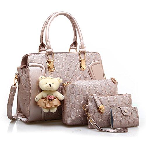 CoCogirls Damen Handtaschen set Vintage Leder Henkeltasche Crossbody Tasche Handgelenktasche Schultertasche 4pcs (4 pcs, Gold)