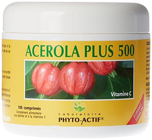 Phyto Actif818-Acérola plus 500 - Pot familial 100 comprimés