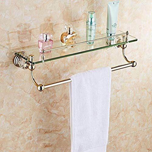 Estante de baño de cristal dorado Estante de vidrio grueso con barra de toalla -628 (Color: dorado con barra de toalla)