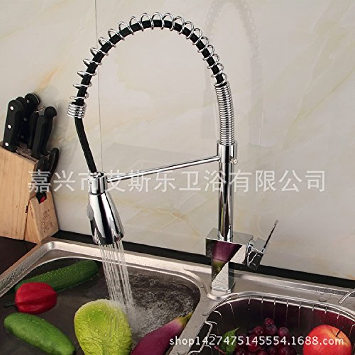 Commercial Single Lever Pull Down Kitchen Sink Faucet Brass Constructed Polished Basin Faucet Foreign Trade Kitchen Spring Faucet Pull-Type Faucet Dish Basin Basin Agent to Join A Generation