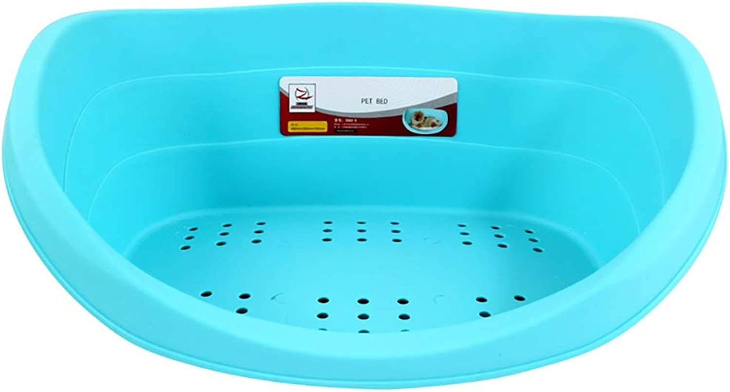 bluee Plastic Pet Bed Heavy Duty Waterproof Cat Dog Basket Large Comfortable With cushion, 80×56×25cm
