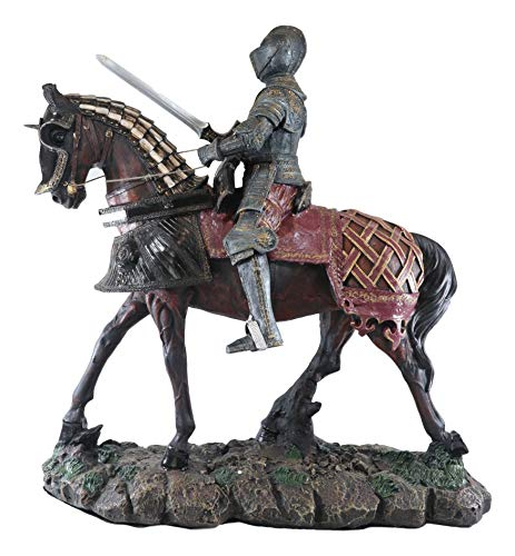 Ebros Large Grande Armee Medieval Royal Suit of Armor French Knight with Sword On Heavy Cavalry Armored Horse Statue 17.5' Tall Knighthood Collectible Gallery Quality Decor Figurine