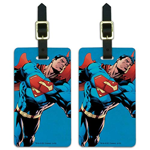 Superman Character Luggage ID Tags Suitcase Carry-On Cards - Set of 2