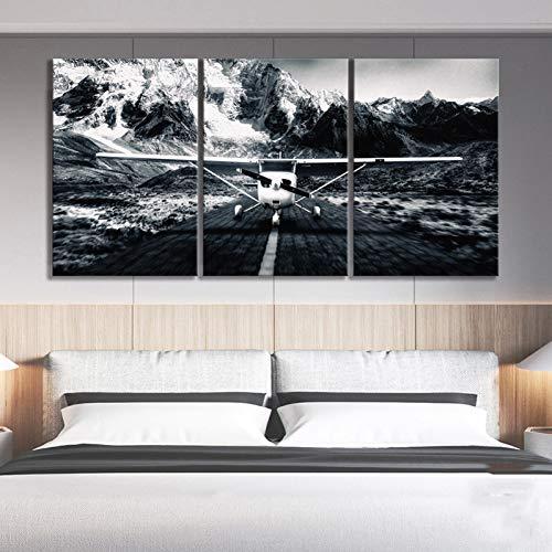 MMLFY 3 afbeeldingen op canvas 3 stuks modulaire afbeeldingen canvas schilderij wooncultuur zwart wit privé vliegtuig sneeuwberg landschapsdruk poster muurkunst woonkamer No Frame 40 x 60 cm x 3 No Frame