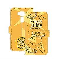 PU手帳型 ミラータイプ スマホケース ZenFone 3 (ZE520KL) 用 パッケージ・オレンジ orange ジュースパック フェイクデザイン ASUS エイスース ゼンフォンスリーSIMフリー スタンド スマホカバー 携帯カバー juice 00l_109@05m