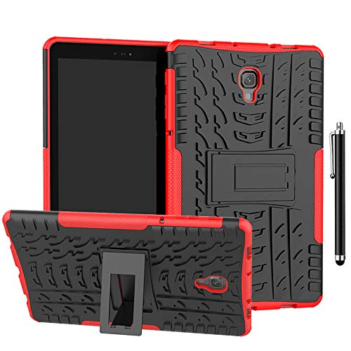SsHhUu Funda para Galaxy Tab A 10.1 2016 SM-P580/P585, Anti-Choques Carcasa Doble Capa Protectora de Silicón y PC con Soporte para Samsung Galaxy Tab A 10.1 Case 2016 (SM-P580/P585), Rojo