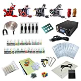 One Tattoo World Complete Tattoo Starter Kit, 4 Tattoo Machines, Digital Power Supply, 54 Color 5ml Tattoo inks, Grips, Needles, Transfer Paper etc, OTW-KTB454