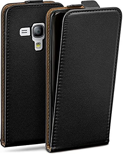 moex Flip Hülle für Samsung Galaxy S3 Mini - Hülle klappbar, 360 Grad Klapphülle aus Vegan Leder, Handytasche mit vertikaler Klappe, magnetisch - Schwarz