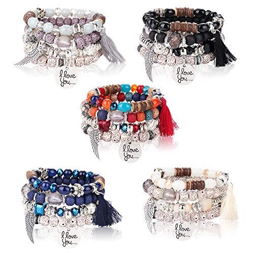 LOYALLOOK 5Sets Bohemian Stretch Beaded Bracelets for Women Crystal Beaded Strand Bangle Charm Multilayer Stackable Bracelets