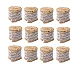 R H lifestyle 2 Meter 5cm White Lace Burlap Craft Ribbon Rolls (Jute Roll with White Lace, Pack of 12)