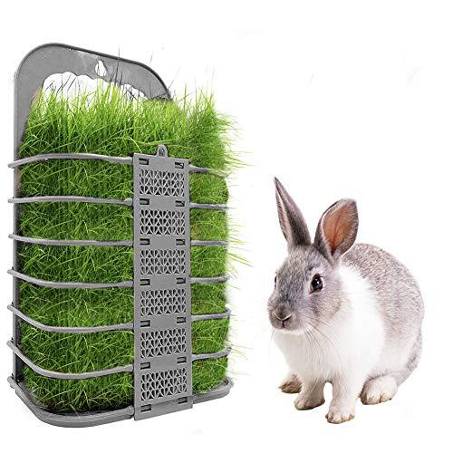 FYBlossom Heu Futterspender Heuraufen für Kaninchen - Futtertower Heu Feeder für Heu und Karotten Futterraufe,Heu Feeder für Kaninchen/Meerschweinchen/Chinchilla/Kleintiere (Grau)