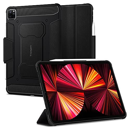 Spigen Rugged Armor Pro Compatible con iPad Pro 11 3ra / 2da / 1ra generación Funda con portalápices / Soporte Triple (2021/2020/2018) - Negro