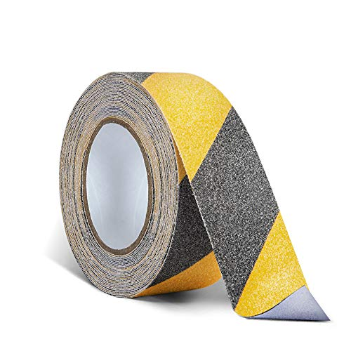 2 Inch X 32.8ft Non Slip Safety Grip Tape for Stairs Steps Non Skid Tread High Traction Friction/Strong Grip Abrasive Adhesive Hazard Caution Tape- Black/Yellow