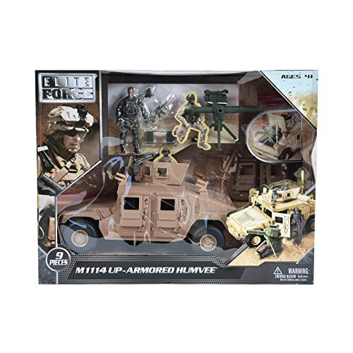 Sunny Days Entertainment M1114 Up-Armored Humvee – Vehicle Playset with Action Figure and Realistic Accessories | 9 Piece Military Toy Set for Kids – Elite Force (101863)