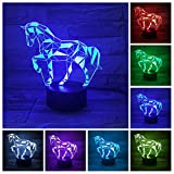 Lampe Illusion 3D, Alimenté par USB 7 Couleur Changeante Cheval Lampes Table Bureau...