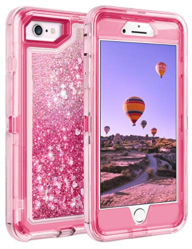Coolden Case for iPhone SE 2020 Cases Protective Glitter Case for Women Girls Cute Bling Sparkle Heavy Duty Hard Shell Shockproof TPU Case for 4.7 Inches iPhone SE 2nd Generation 8 7, Pink