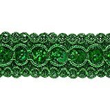 Expo International Trish Sequin Metallic Braid Trim Embellishment, 20-Yard, Green