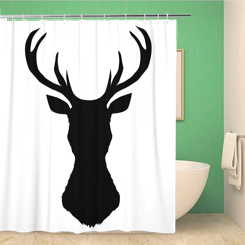立方体カナダエクスタシー浴室のシャワーカーテンバック鹿シルエットヘッドプロファイルクワガタ動物アントラー黒防水風呂カーテンセットフック付き 200X180 CM
