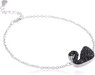 Morgan 925 Sterling Silver Black Crystal embellished Swan Charm Cable-Chain Bracelet for Women