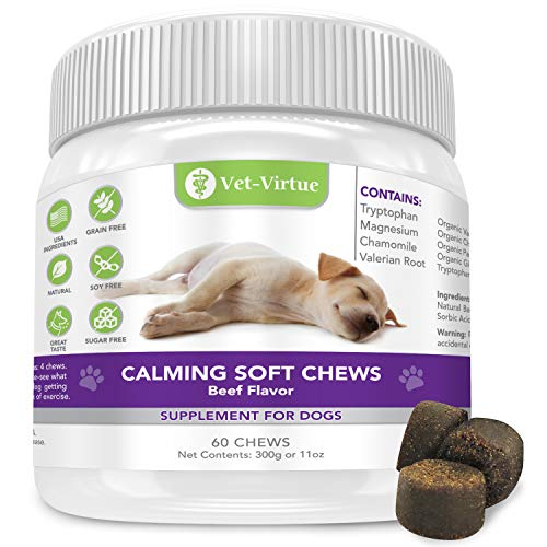 VET-VIRTUE Calming Treats for Dogs- Soft Chew Formula with Organic Hemp Oil for Dogs, Easy Consumption and Great Tasting with Organic Chamomile and Valerian Extract…