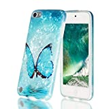 iPod Touch 7th Generation Case with 2 Screen Protectors, iPod Touch Case for Girls, IDWELL Slim FIT Anti-Scratch Flexible Soft TPU Bumper Protective Case for iPod Touch 5/6/7th, Blue Butterfly