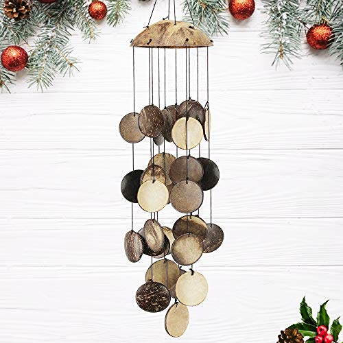 Coconut Shell Wind Chimes Outdoor, Wooden Wind Chimes Outdoor, Perfect Decoration for Your own Patio, Porch, Garden, or Backyard