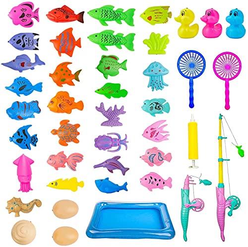 Juego Pescar Peces,Juguete de Baño,Juego de Pescar para Ninos Magnetico 42 Pcs,Juguete de Pesca Magnético,con Caña Flotando Peces,Juguetes de Magnético de Flotante,Juguetes Piscina&Bañera