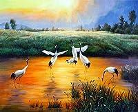 QWEFGDF 塗装キットDIY ペイント番号キット 子供 大人 ーク絵画ギフト装飾 (40x50 cm)湖のソデグロヅル